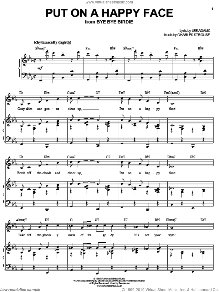 Put On A Happy Face sheet music for voice and piano by Joan Frey Boytim, Charles Strouse and Lee Adams, intermediate skill level