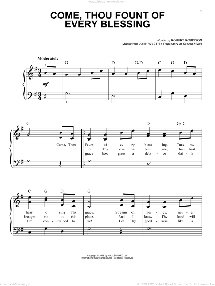 Come, Thou Fount Of Every Blessing, (easy) sheet music for piano solo by Robert Robinson and John Wyeth, easy skill level