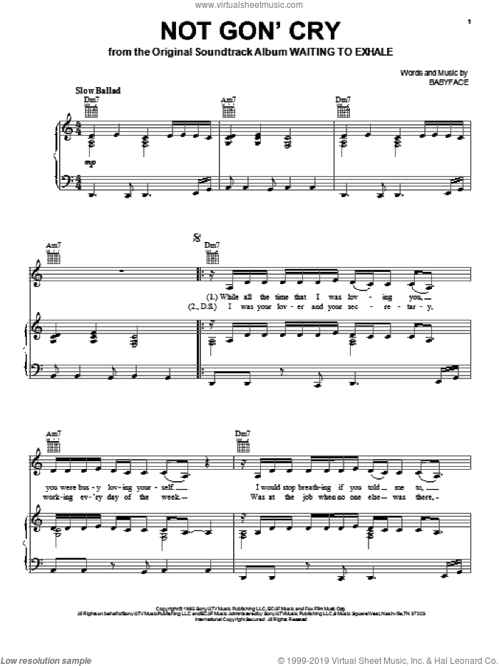 Not Gon' Cry sheet music for voice, piano or guitar by Mary J. Blige and Babyface, intermediate skill level