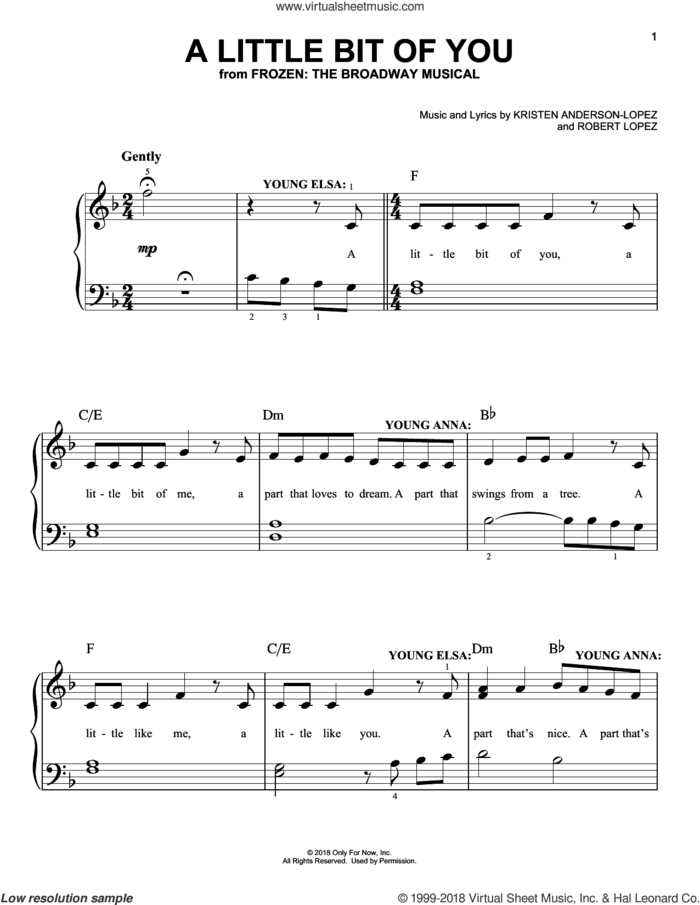 A Little Bit Of You sheet music for piano solo by Robert Lopez, Kristen Anderson-Lopez and Kristen Anderson-Lopez & Robert Lopez, easy skill level