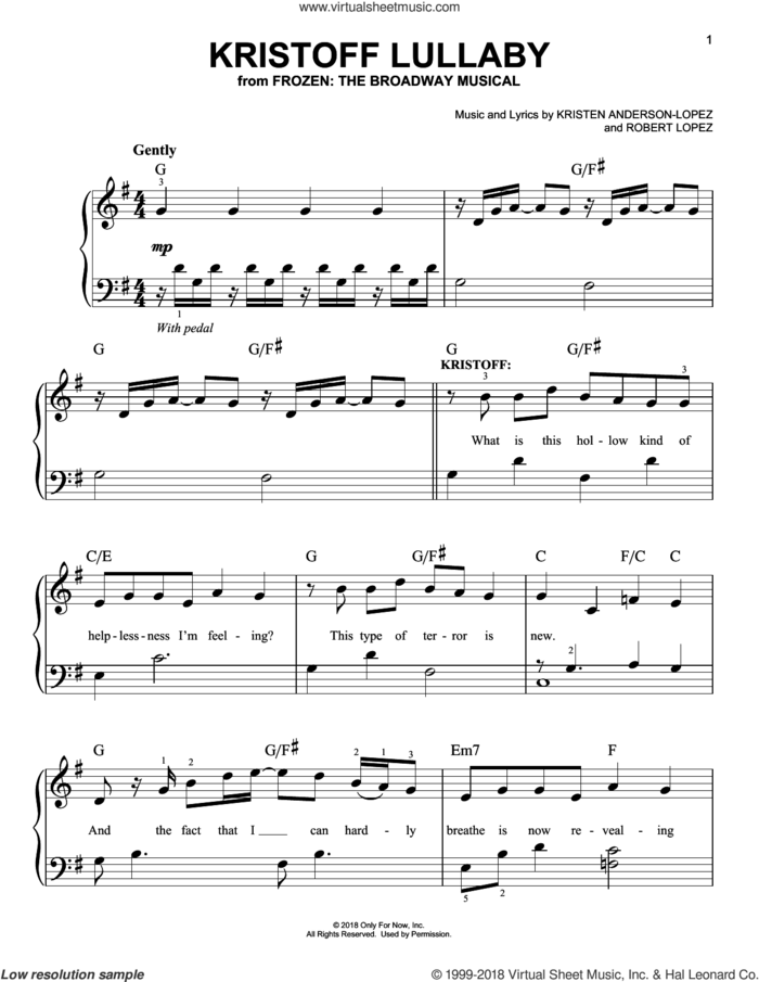 Kristoff Lullaby sheet music for piano solo by Robert Lopez, Kristen Anderson-Lopez and Kristen Anderson-Lopez & Robert Lopez, easy skill level