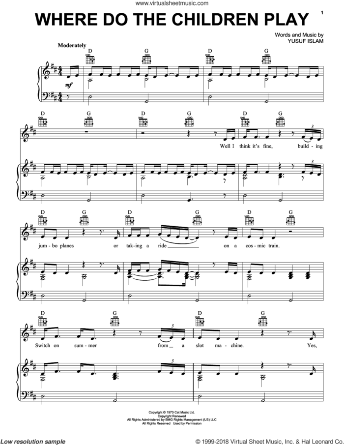 Where Do The Children Play sheet music for voice, piano or guitar by Cat Stevens and Yusuf Islam, intermediate skill level