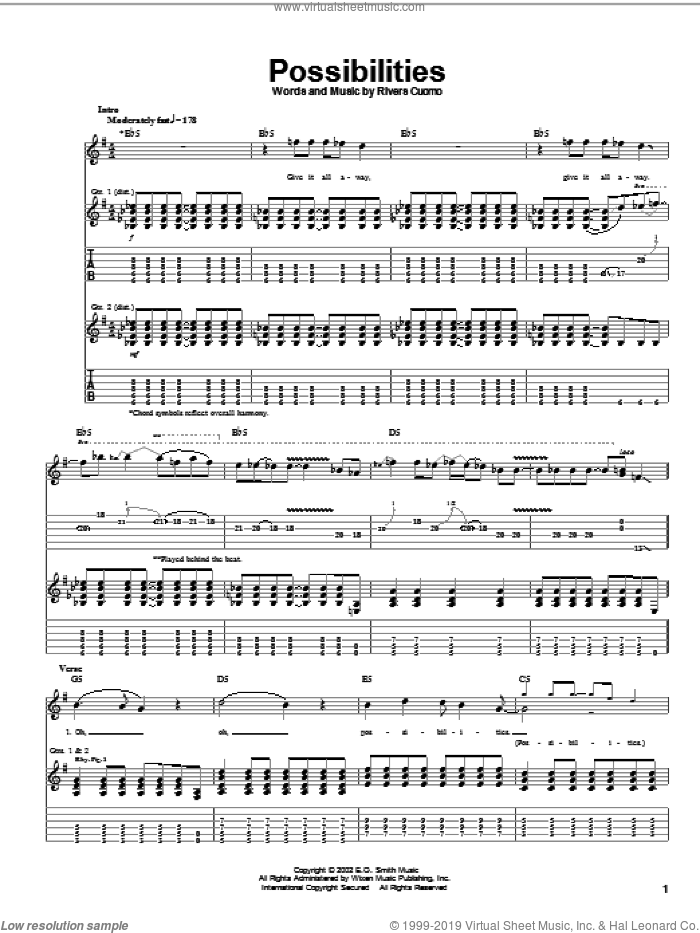 Possibilities sheet music for guitar (tablature) by Weezer and Rivers Cuomo, intermediate skill level