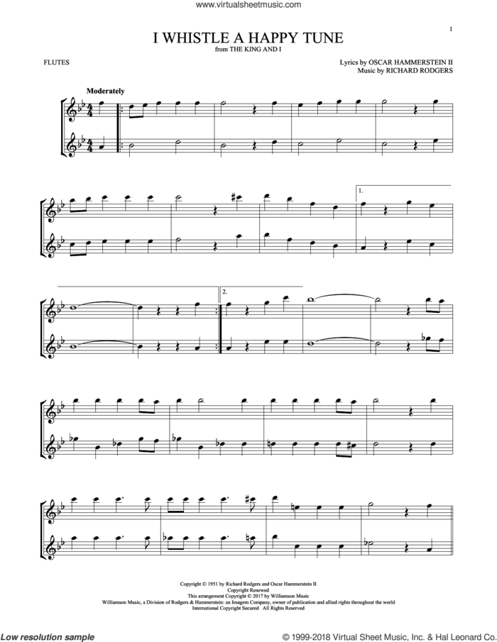 I Whistle A Happy Tune sheet music for two flutes (duets) by Richard Rodgers, Oscar II Hammerstein and Rodgers & Hammerstein, intermediate skill level
