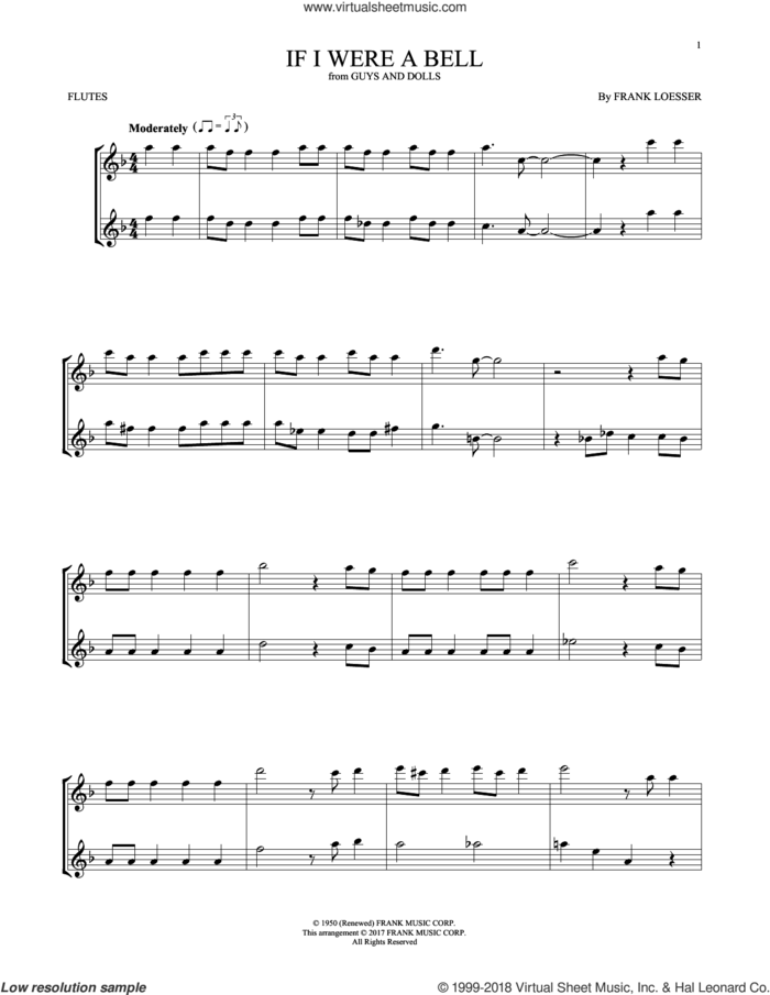 If I Were A Bell sheet music for two flutes (duets) by Frank Loesser, intermediate skill level