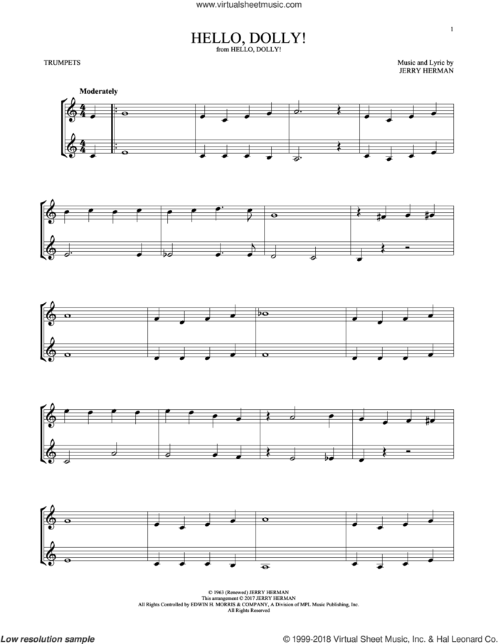 Hello, Dolly! sheet music for two trumpets (duet, duets) by Louis Armstrong and Jerry Herman, intermediate skill level