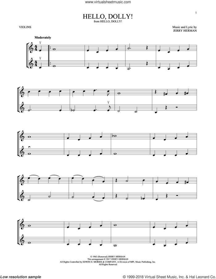 Hello, Dolly! sheet music for two violins (duets, violin duets) by Louis Armstrong and Jerry Herman, intermediate skill level