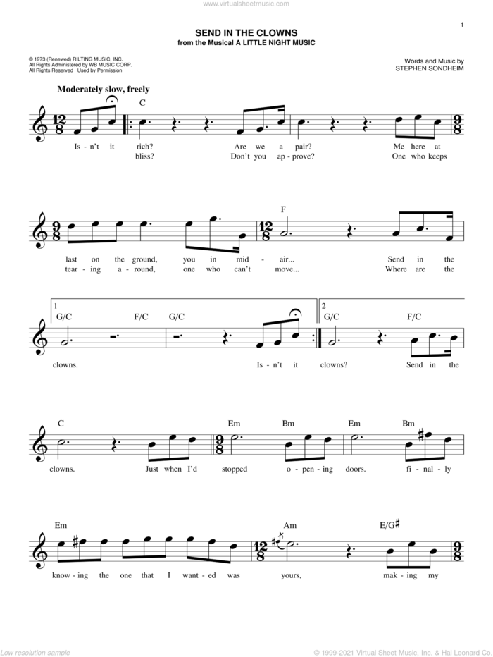 Send In The Clowns sheet music for voice and other instruments (fake book) by Stephen Sondheim, intermediate skill level