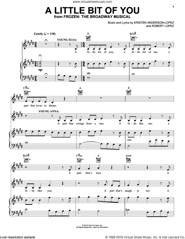 A Little Bit Of You (from Frozen: The Broadway Musical) sheet music for voice, piano or guitar by Robert Lopez, Kristen Anderson-Lopez and Kristen Anderson-Lopez & Robert Lopez, intermediate skill level
