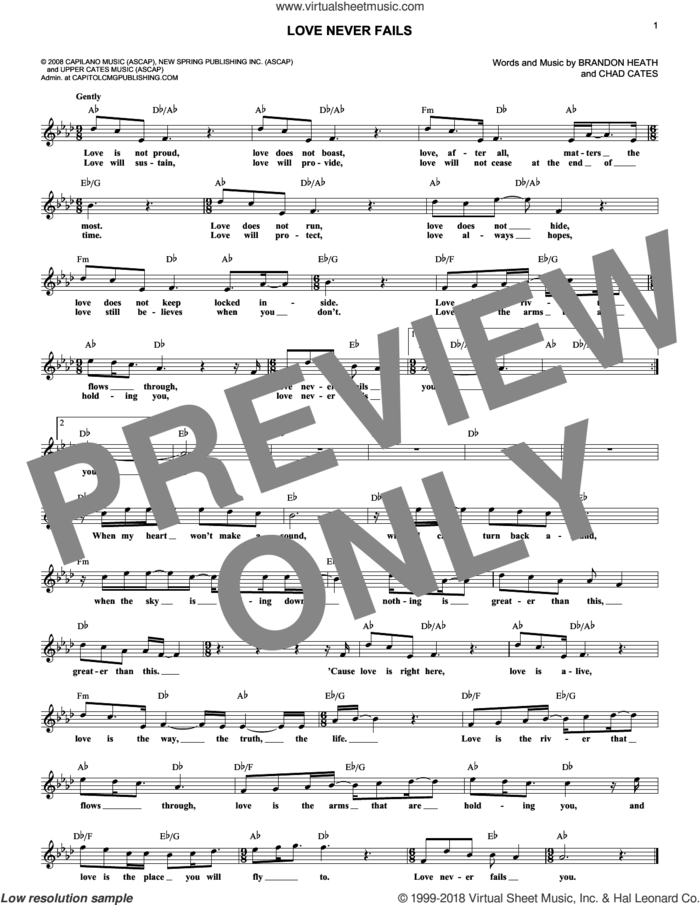 Love Never Fails sheet music for voice and other instruments (fake book) by Brandon Heath and Chad Cates, wedding score, intermediate skill level