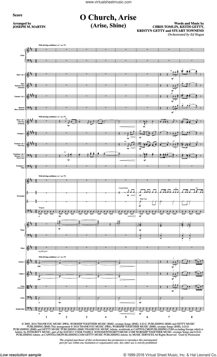 O Church, Arise (Arise, Shine) (COMPLETE) sheet music for orchestra/band by Joseph M. Martin, Chris Tomlin, Keith and Kristyn Getty, Keith Getty and Stuart Townend, intermediate skill level