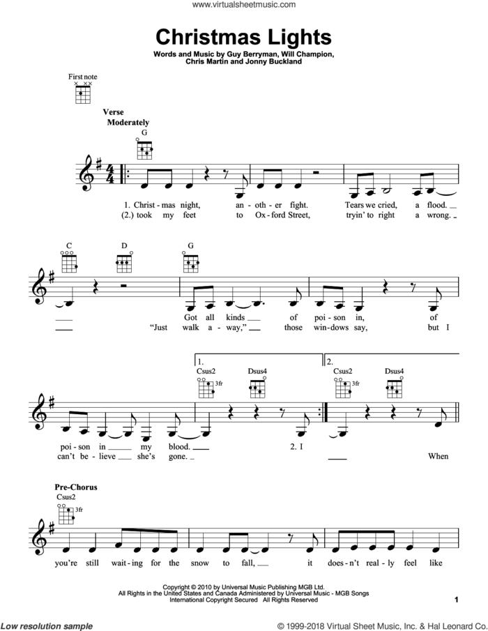 Christmas Lights sheet music for ukulele by Guy Berryman, Coldplay, Chris Martin, Jonny Buckland and Will Champion, intermediate skill level