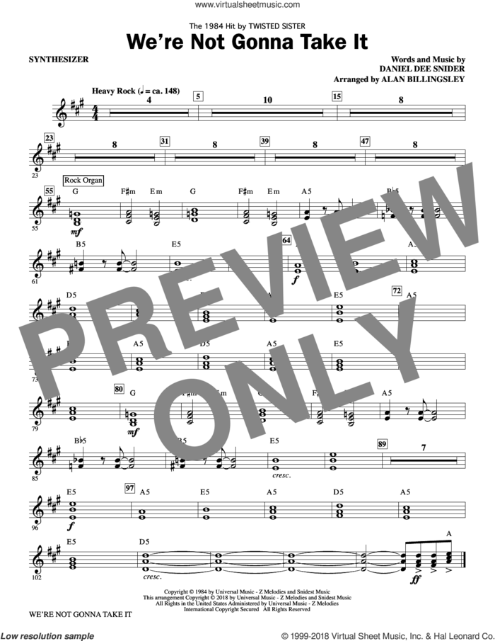 We're Not Gonna Take It (complete set of parts) sheet music for orchestra/band by Alan Billingsley, Dee Snider and Twisted Sister, intermediate skill level