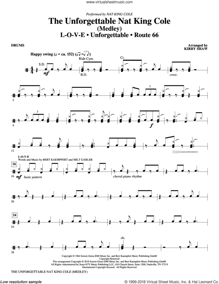 The Unforgettable Nat King Cole sheet music for orchestra/band (drums) by Bert Kaempfert, Kirby Shaw, Nat King Cole, Natalie Cole and Milt Gabler, intermediate skill level