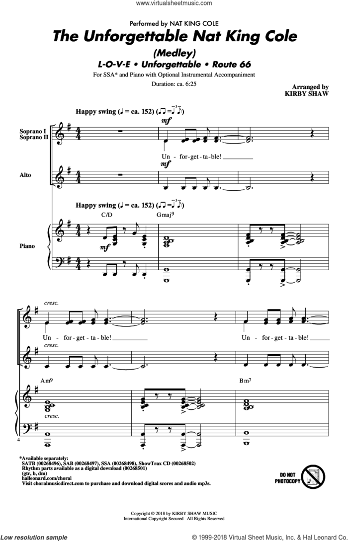 The Unforgettable Nat King Cole (Medley) sheet music for choir (SSA: soprano, alto) by Bert Kaempfert, Kirby Shaw, Nat King Cole, Natalie Cole and Milt Gabler, intermediate skill level