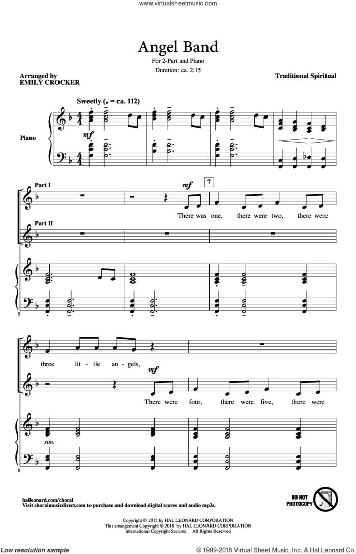 Angel Band sheet music for choir (2-Part) by Emily Crocker and Miscellaneous, intermediate duet