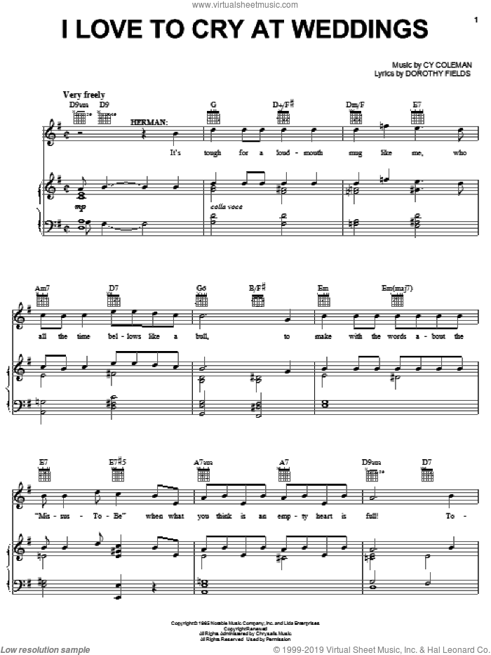 I Love To Cry At Weddings sheet music for voice, piano or guitar by Cy Coleman, Sweet Charity (Musical) and Dorothy Fields, intermediate skill level