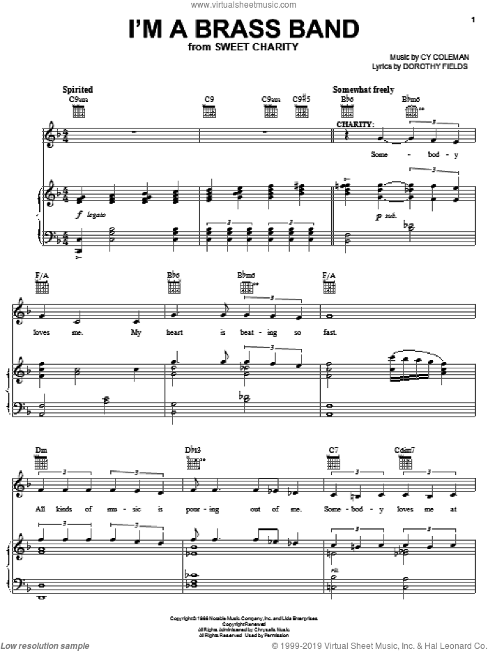 I'm A Brass Band sheet music for voice, piano or guitar by Cy Coleman, Sweet Charity (Musical) and Dorothy Fields, intermediate skill level