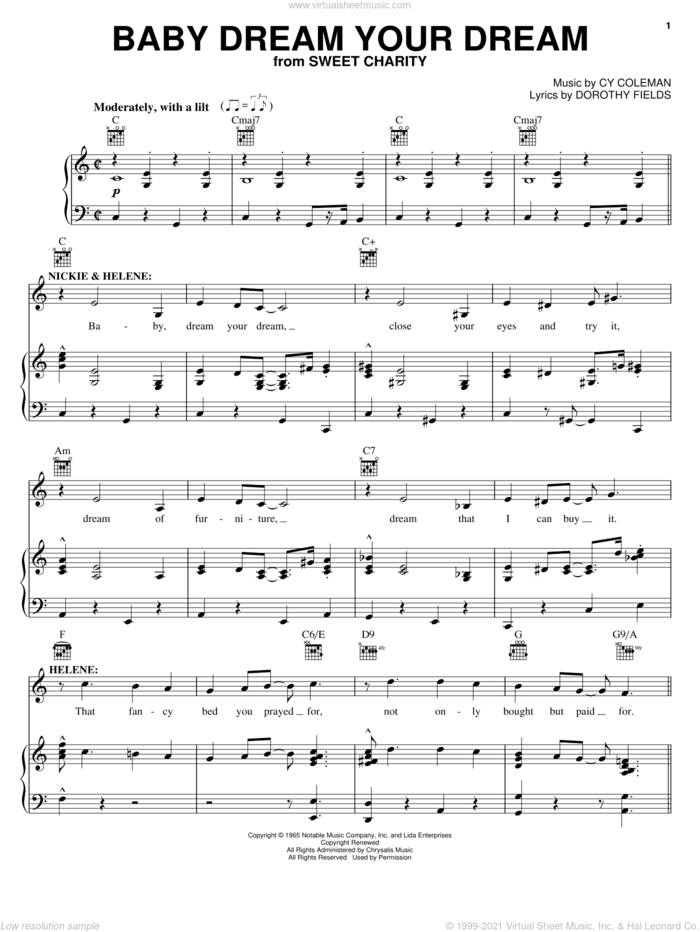 Baby Dream Your Dream sheet music for voice, piano or guitar by Cy Coleman, Sweet Charity (Musical) and Dorothy Fields, intermediate skill level