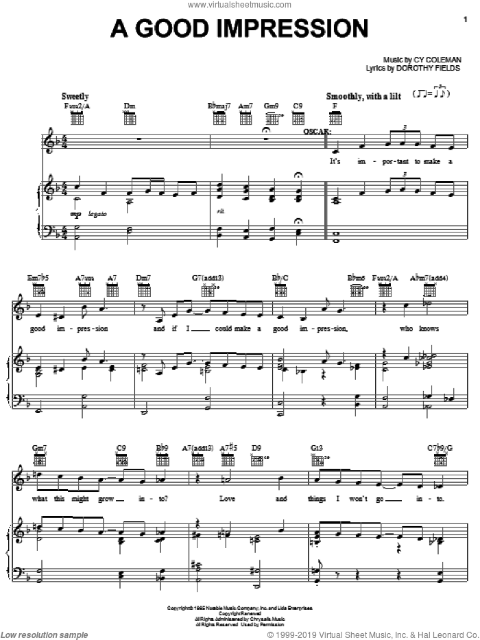 A Good Impression sheet music for voice, piano or guitar by Cy Coleman, Sweet Charity (Musical) and Dorothy Fields, intermediate skill level