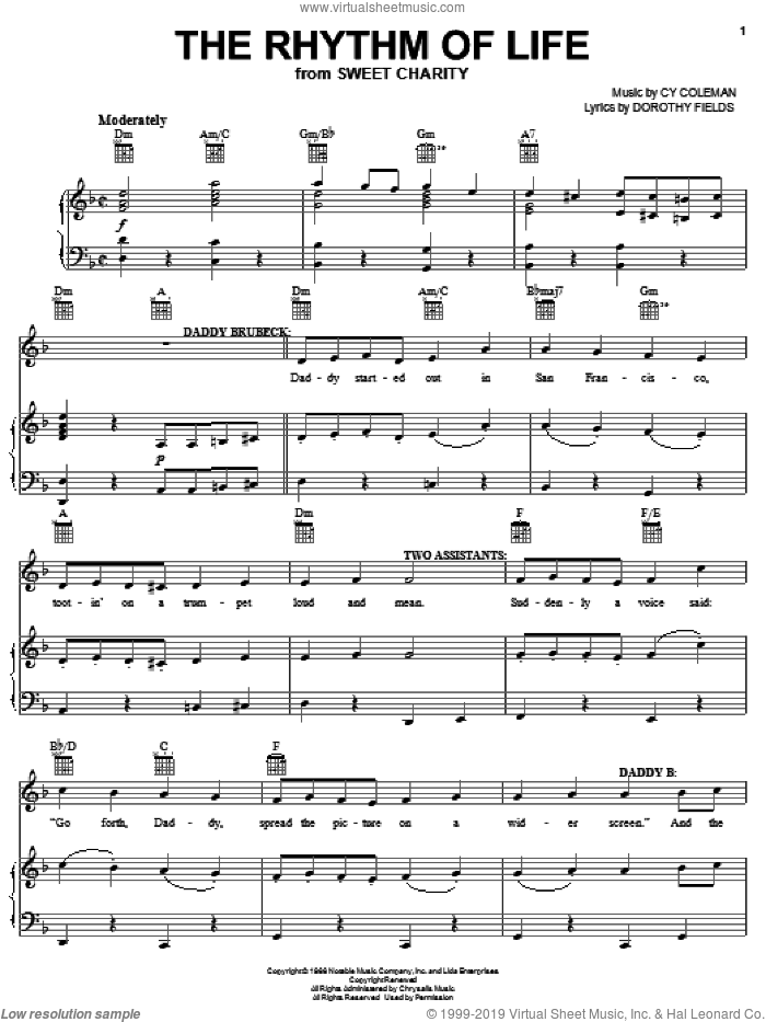 The Rhythm Of Life sheet music for voice, piano or guitar by Cy Coleman, Sweet Charity (Musical) and Dorothy Fields, intermediate skill level