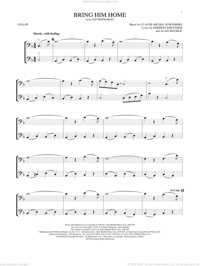 Bring Him Home sheet music for two cellos (duet, duets) by Alain Boublil, Claude-Michel Schonberg, Claude-Michel Schonberg and Herbert Kretzmer, intermediate skill level