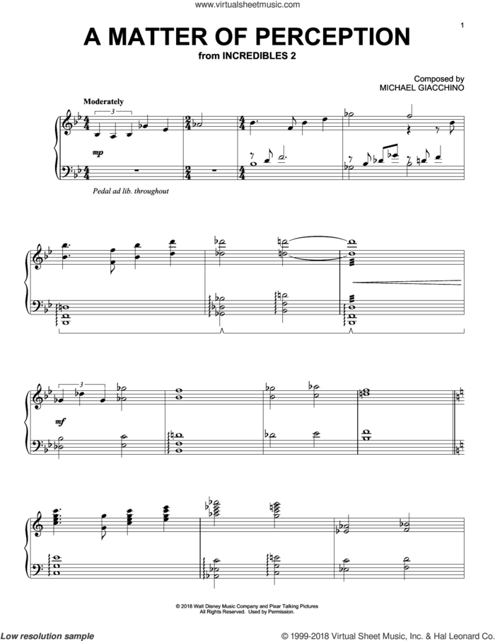 A Matter Of Perception (from Incredibles 2) sheet music for piano solo by Michael Giacchino, intermediate skill level
