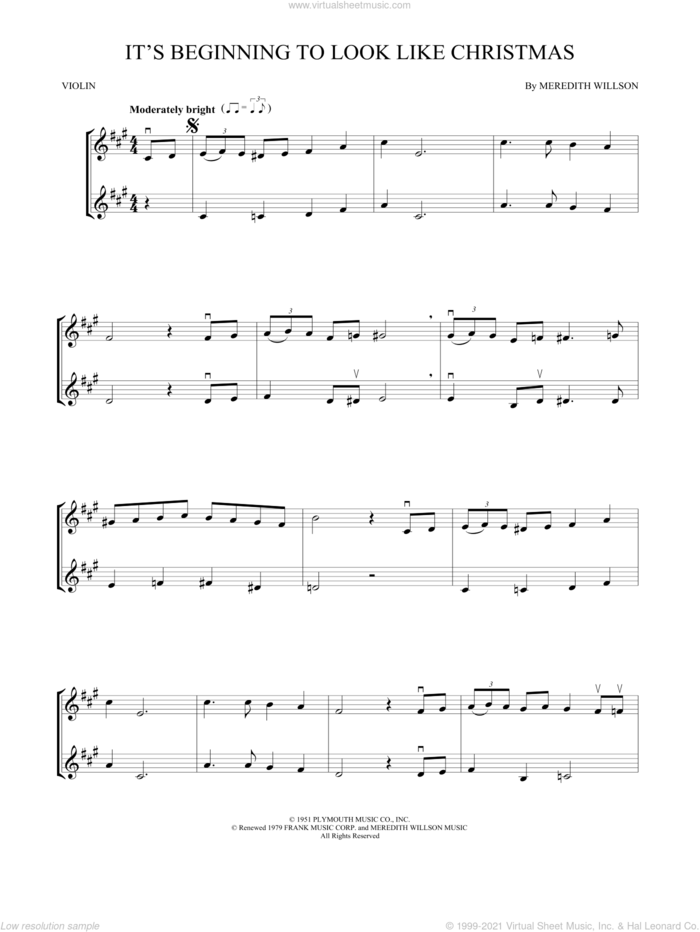 It's Beginning To Look Like Christmas sheet music for two violins (duets, violin duets) by Meredith Willson, intermediate skill level