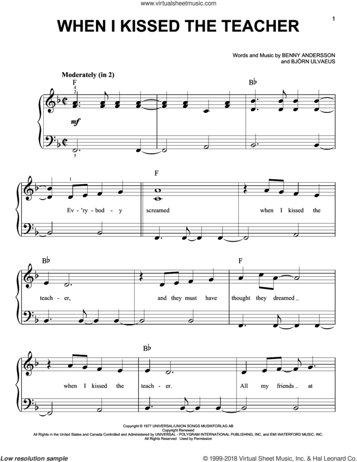 When I Kissed The Teacher (from Mamma Mia! Here We Go Again) sheet music for piano solo by ABBA, Benny Andersson and Bjorn Ulvaeus, easy skill level