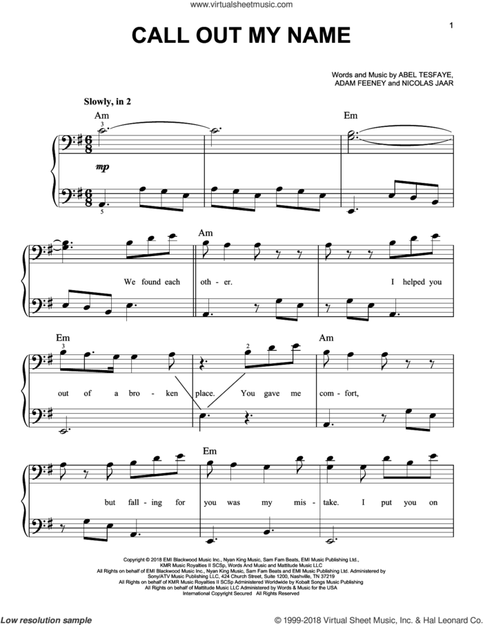 Call Out My Name sheet music for piano solo by The Weeknd, Abel Tesfaye, Adam Feeney and Nicolas Jaar, easy skill level