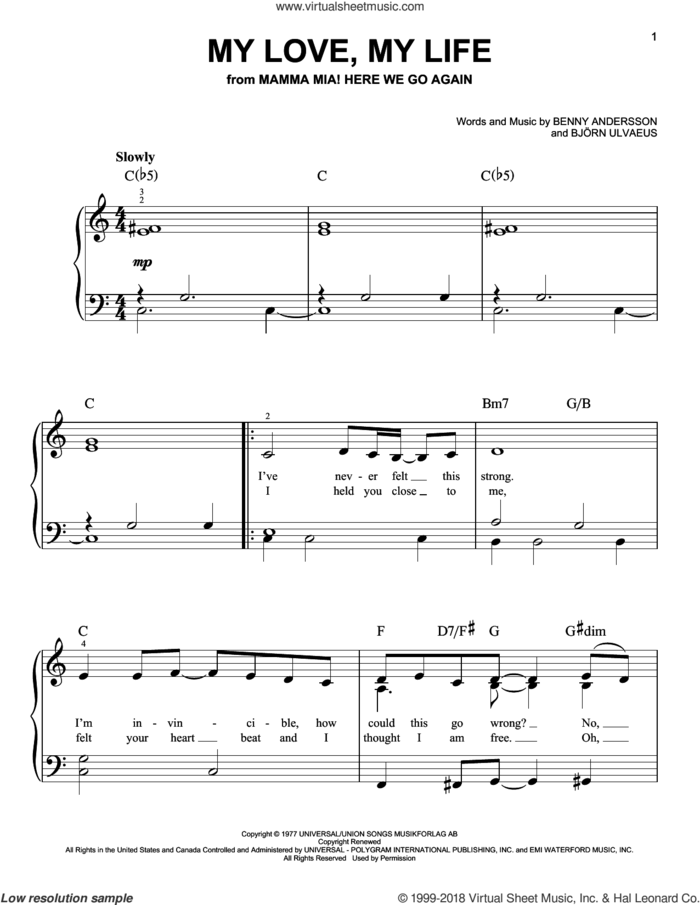 My Love, My Life (from Mamma Mia! Here We Go Again) sheet music for piano solo by ABBA, Benny Andersson, Bjorn Ulvaeus and Stig Anderson, easy skill level