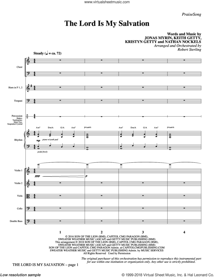 The Lord Is My Salvation (COMPLETE) sheet music for orchestra/band by Robert Sterling, Jonas Myrin, Keith Getty, Kristyn Getty and Nathan Nockels, intermediate skill level