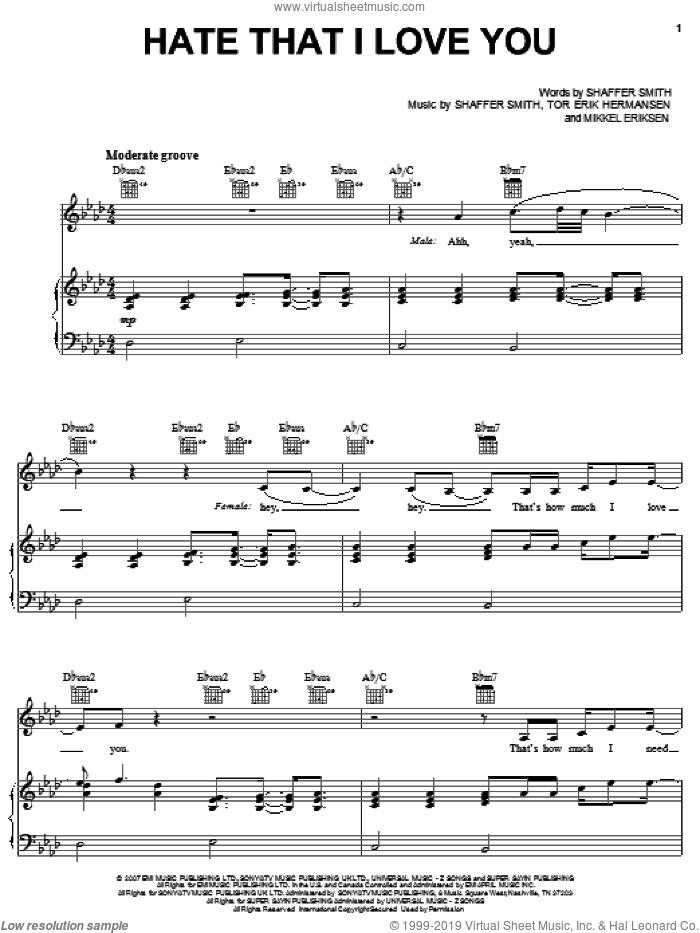 Hate That I Love You sheet music for voice, piano or guitar by Rihanna featuring Ne-Yo, Ne-Yo, Rihanna, Mikkel Eriksen, Shaffer Smith and Tor Erik Hermansen, intermediate skill level