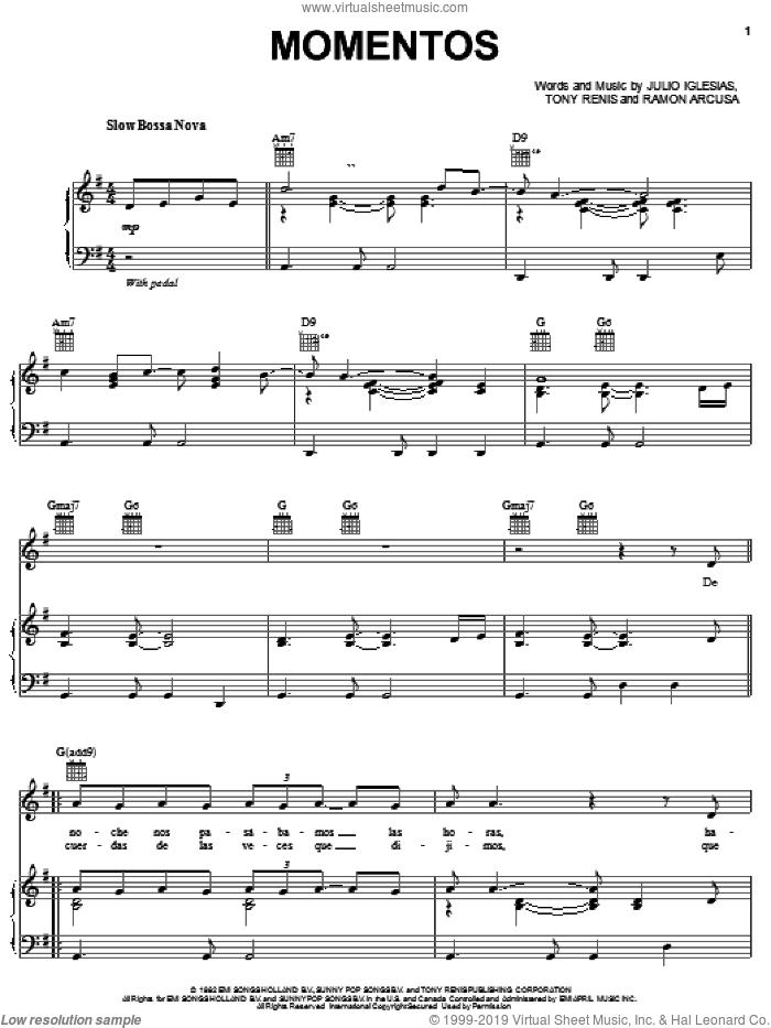 Momentos sheet music for voice, piano or guitar by Andrea Bocelli, Julio Iglesias, Ramon Arcusa and Tony Renis, classical score, intermediate skill level