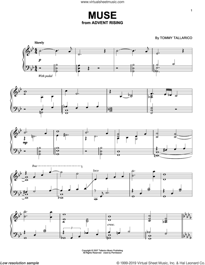 Muse sheet music for piano solo by Tommy Tallarico, intermediate skill level