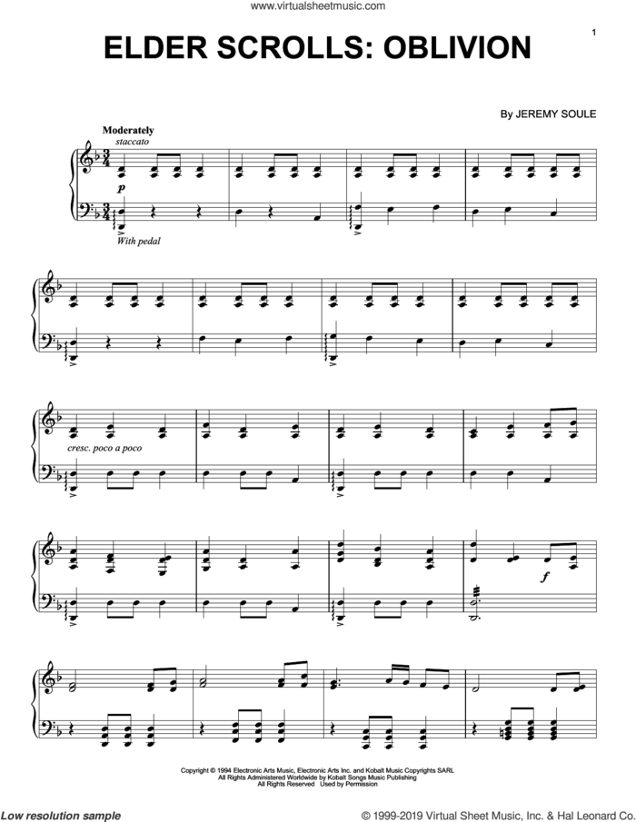 Elder Scrolls IV: Oblivion sheet music for piano solo by Jeremy Soule, classical score, intermediate skill level