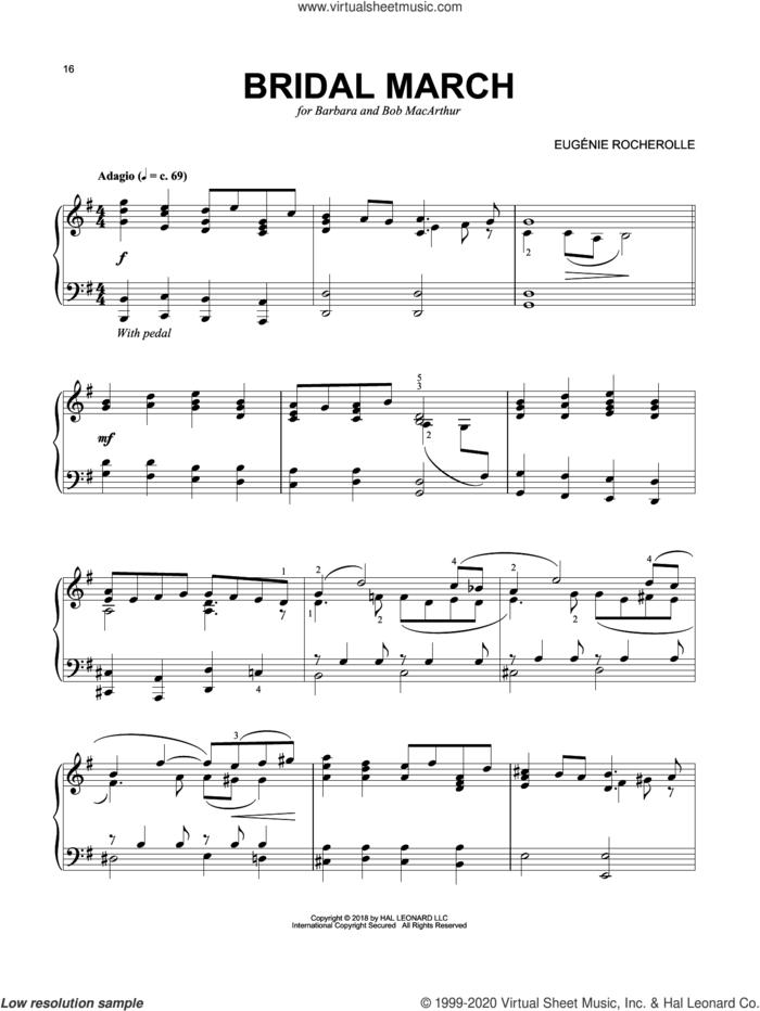 Bridal March sheet music for piano solo by Eugenie Rocherolle, wedding score, intermediate skill level