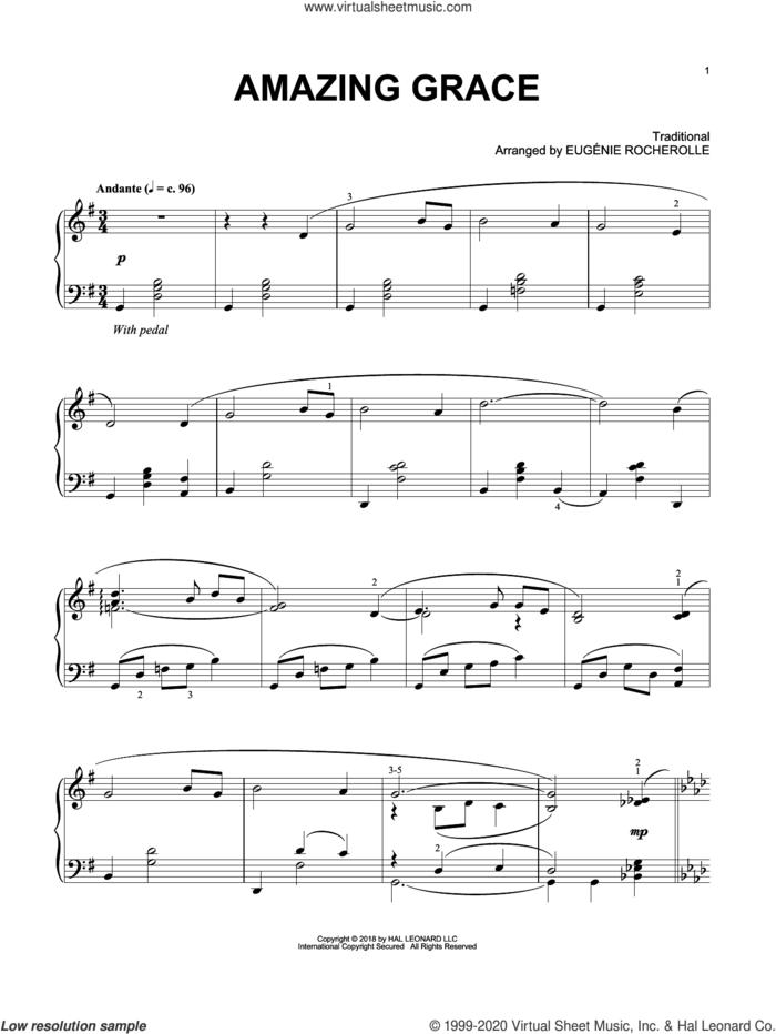 Amazing Grace (arr. Eugenie Rocherolle) sheet music for piano solo by Eugenie Rocherolle, wedding score, intermediate skill level