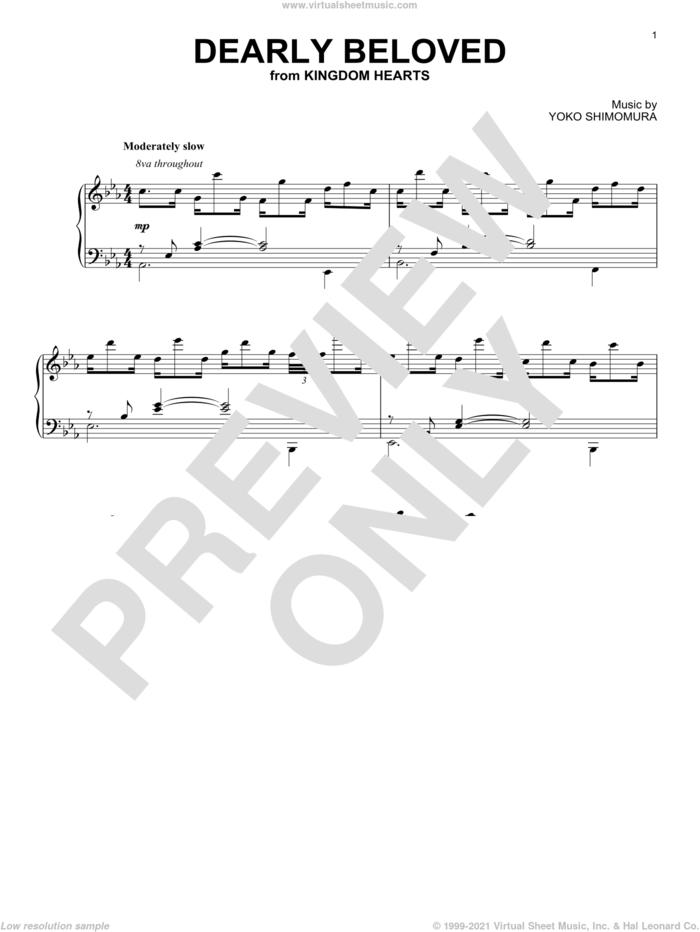 Dearly Beloved sheet music for piano solo by Yoko Shimomura, intermediate skill level