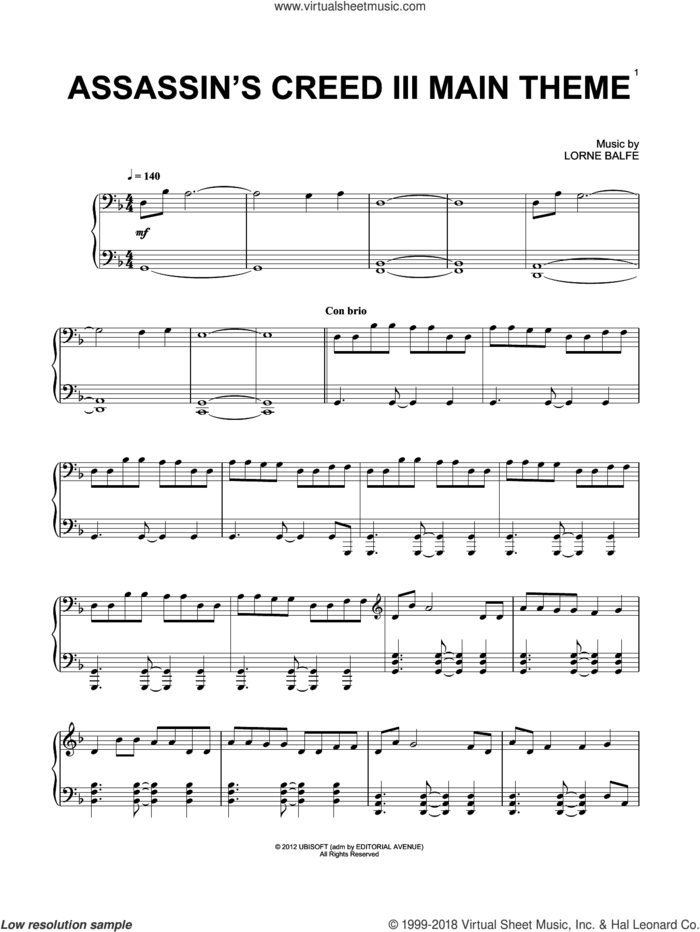 Assassin's Creed III Main Title sheet music for piano solo by Lorne Balfe, classical score, intermediate skill level