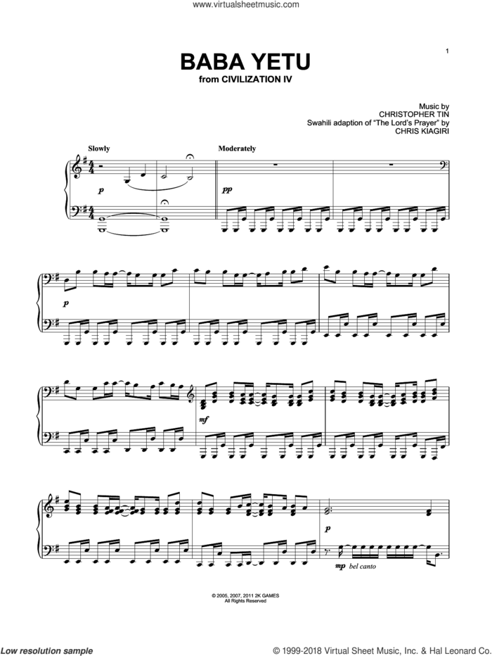 Baba Yetu (from Civilization IV), (intermediate) sheet music for piano solo by Christopher Tin, intermediate skill level