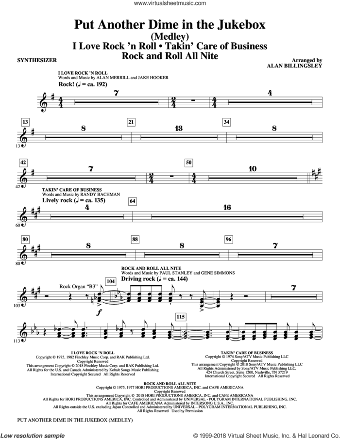 Put Another Dime in the Jukebox (complete set of parts) sheet music for orchestra/band by Alan Billingsley, Alan Merrill and Jake Hooker, intermediate skill level