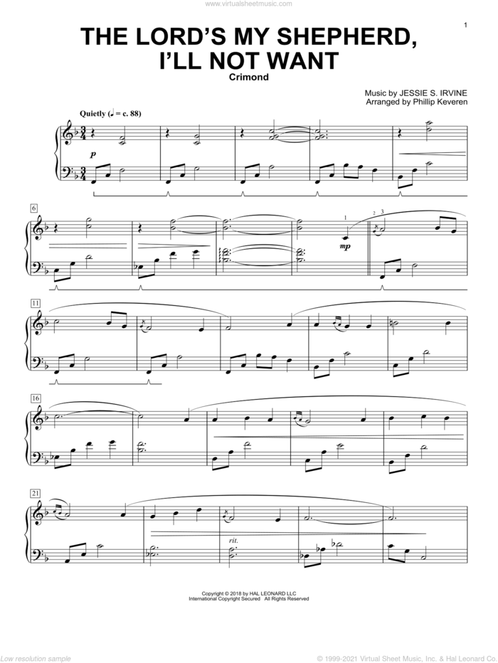 The Lord's My Shepherd, I'll Not Want (arr. Phillip Keveren) sheet music for piano solo by Scottish Psalter, Phillip Keveren, Jessie S. Irvine and Psalm 23, intermediate skill level