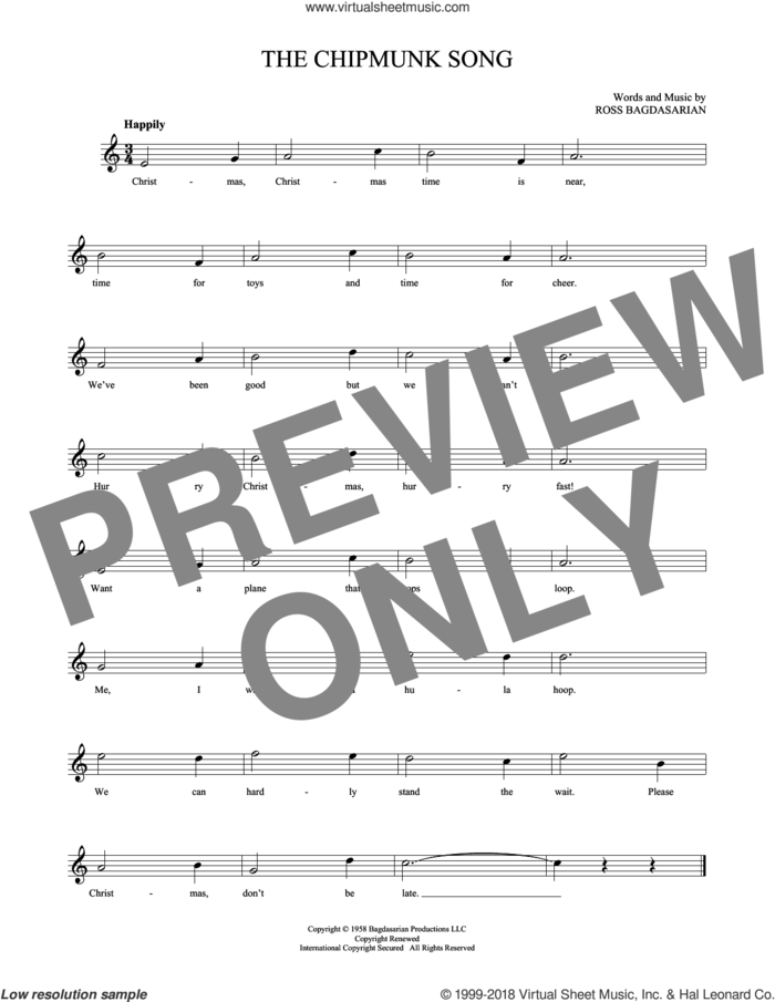 The Chipmunk Song sheet music for ocarina solo by Alvin And The Chipmunks, The Chipmunks and Ross Bagdasarian, intermediate skill level