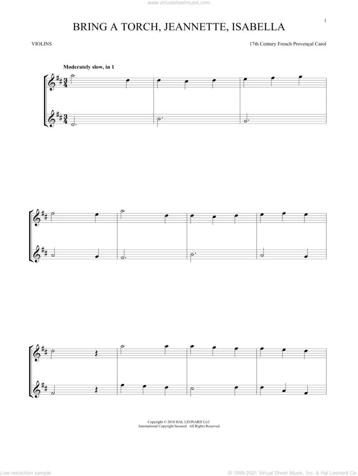 Bring A Torch, Jeannette, Isabella sheet music for two violins (duets, violin duets) by Anonymous and Miscellaneous, intermediate skill level