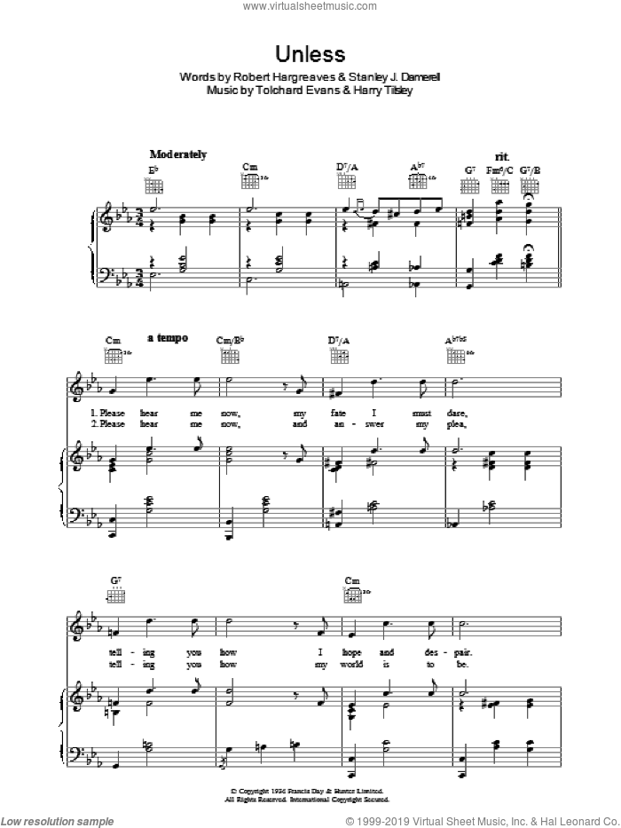 Unless sheet music for voice, piano or guitar by Tolchard Evans, Harry Tilsley, Robert Hargreaves and Stanley J. Damerell, intermediate skill level