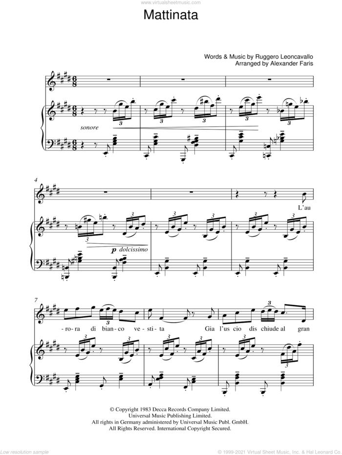 Mattinata sheet music for voice, piano or guitar by Luciano Pavarotti, Alexander Faris and Ruggero Leoncavallo, classical score, intermediate skill level