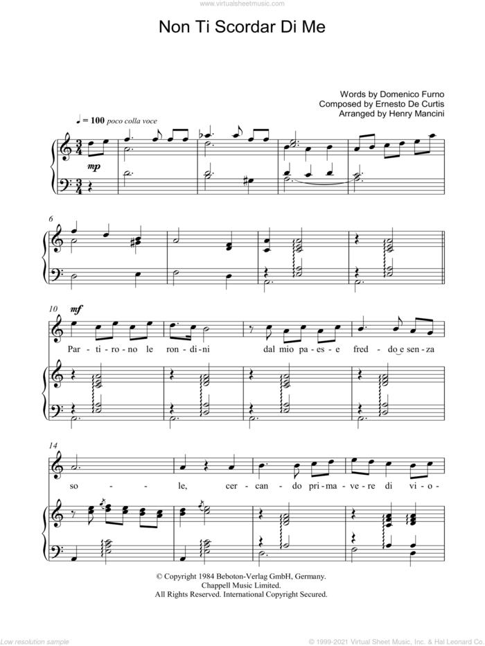 Non Ti Scordar Di Me sheet music for voice, piano or guitar by Luciano Pavarotti, Henry Mancini, Ernesto De Curtis and Domenico Furno, classical score, intermediate skill level