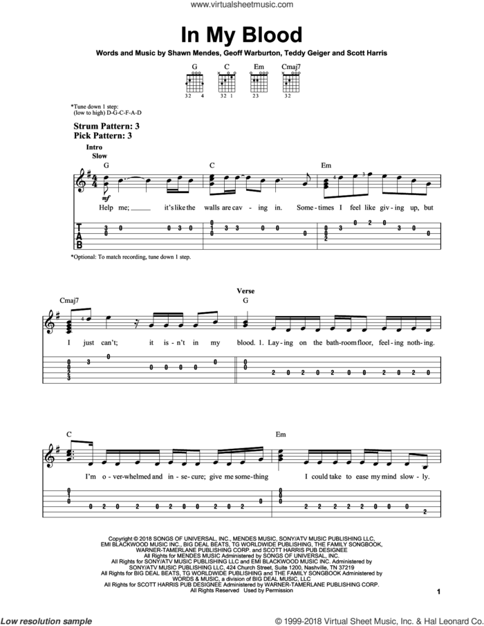 In My Blood sheet music for guitar solo (easy tablature) by Shawn Mendes, Geoff Warburton, Scott Harris and Teddy Geiger, easy guitar (easy tablature)
