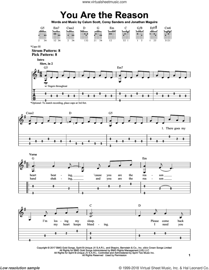 You Are The Reason sheet music for guitar solo (easy tablature) by Calum Scott, Corey Sanders and Jon Maguire, easy guitar (easy tablature)